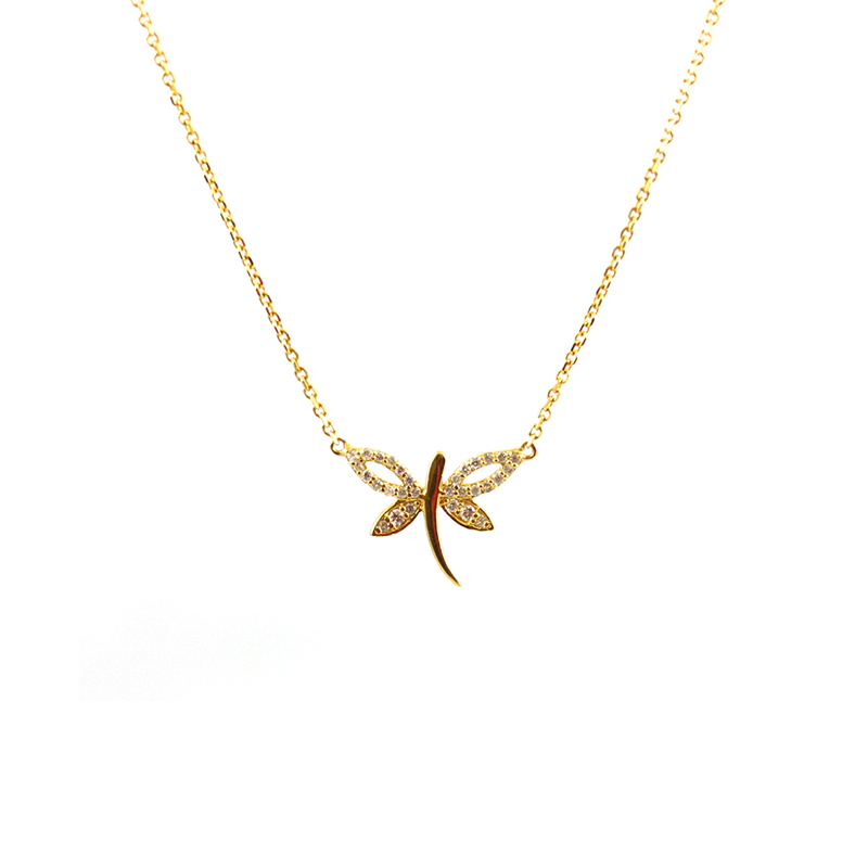 Estate 14 Karat yellow gold and diamond dragon fly necklace.