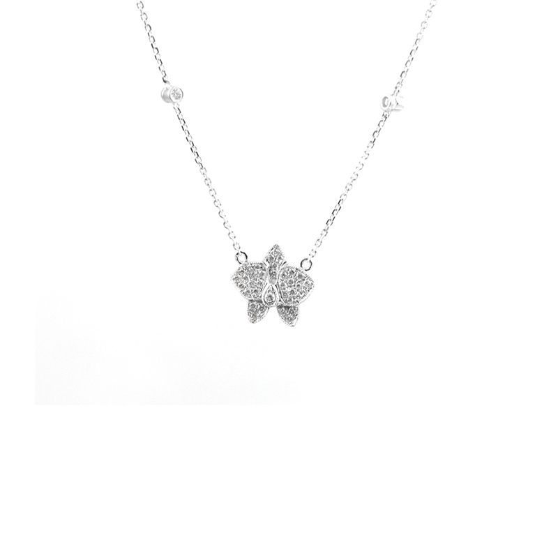 "Vintage 14 Karat white gold and diamond 16 "" butterfly necklace."