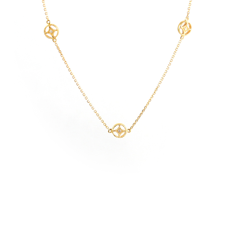 Vintage 14 Karat yellow gold and diamond necklace.