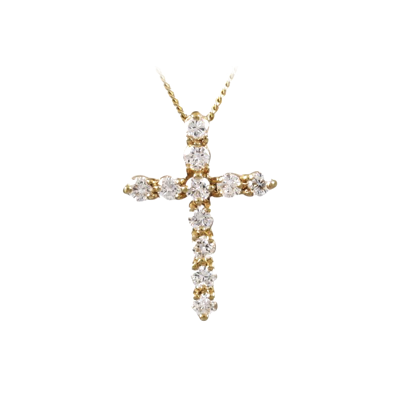 Vintage 18 Karat Yellow Gold Diamond Cross Pendant Necklace
