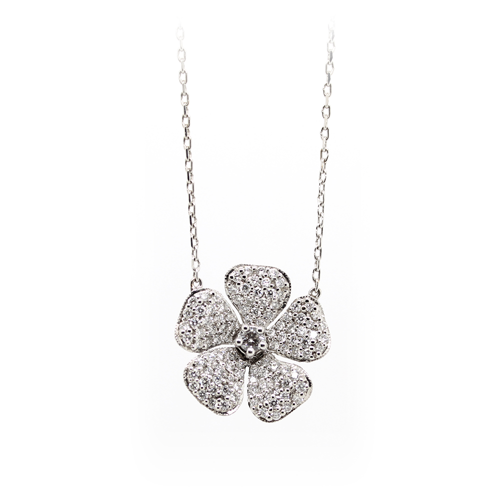 Vintage 18 Karat White Gold Diamond Flower Necklace