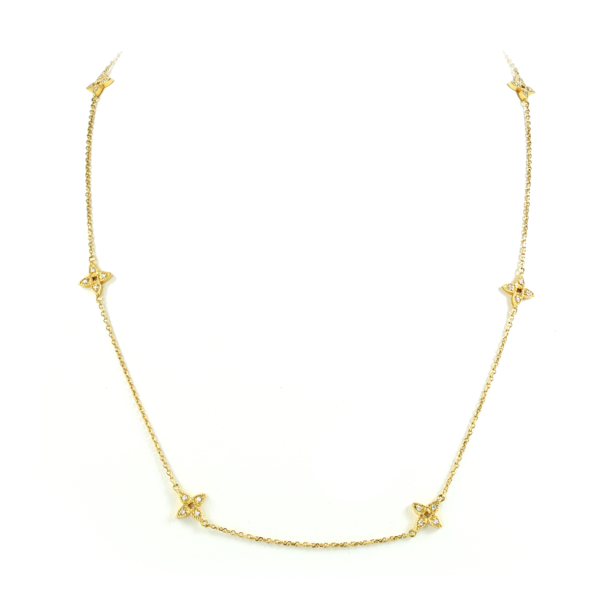 Vintage 14 Karat Yellow Gold Diamond Four Point Star Station Necklace