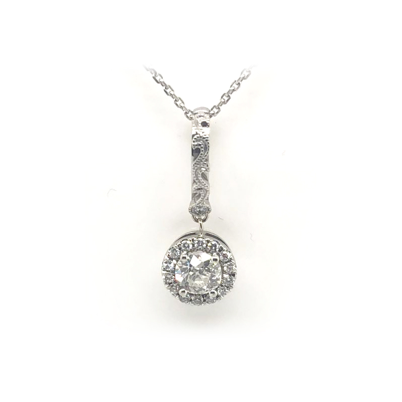 Vintage 14 Karat White Gold Halo Diamond Pendant Necklace