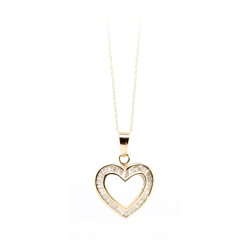 Vintage 14 Karat Yellow Gold Diamond Open Heart Necklace