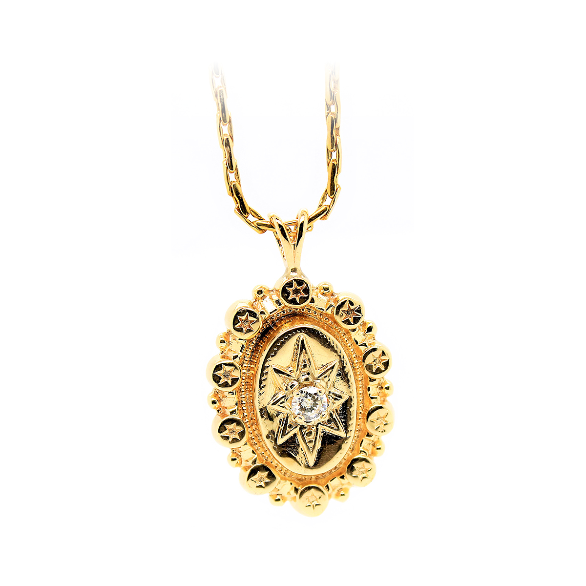 Vintage 14 Karat Yellow Gold Diamond Pendant Necklace