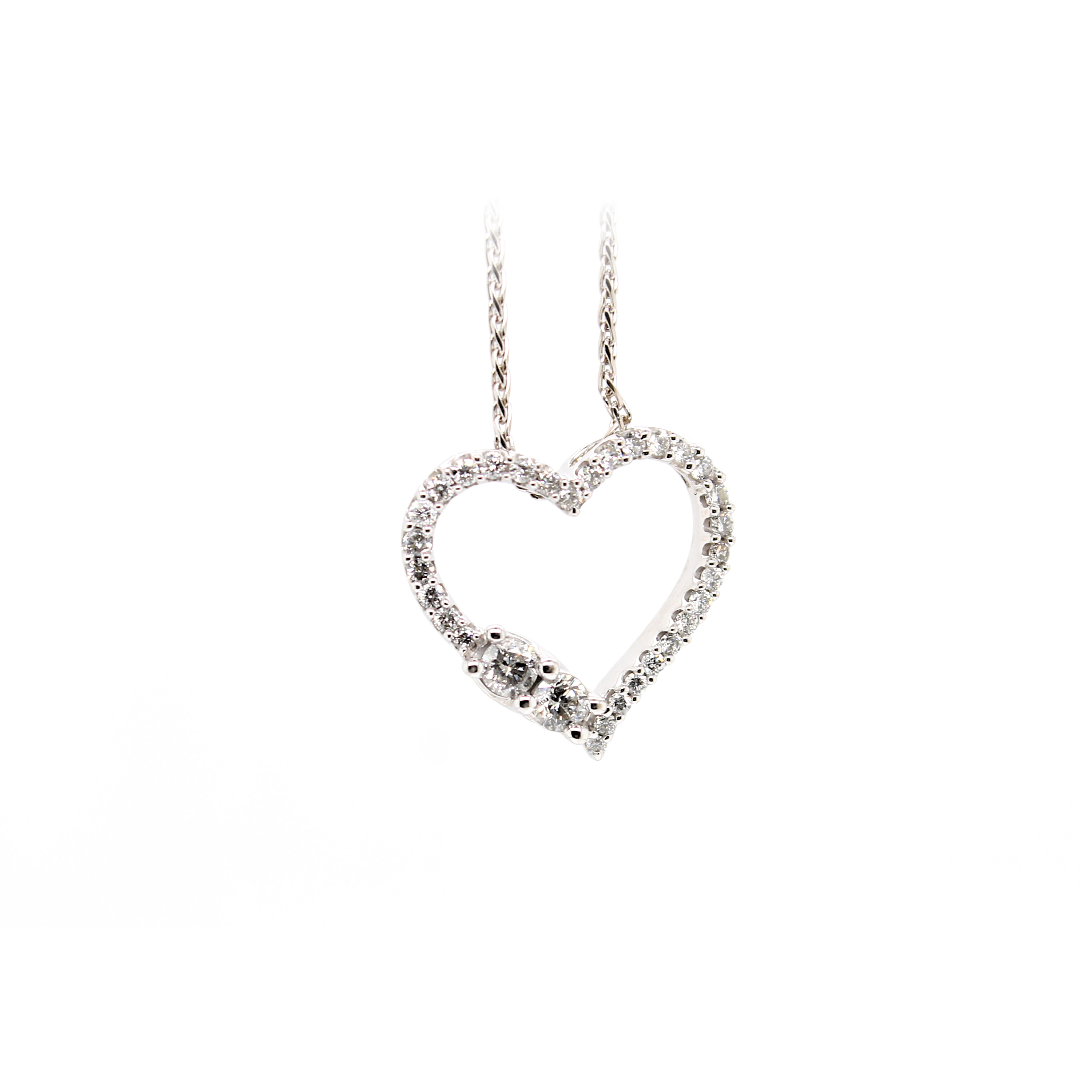 Vintage 14 Karat White Gold Cutout Heart Diamond Pendant Necklace