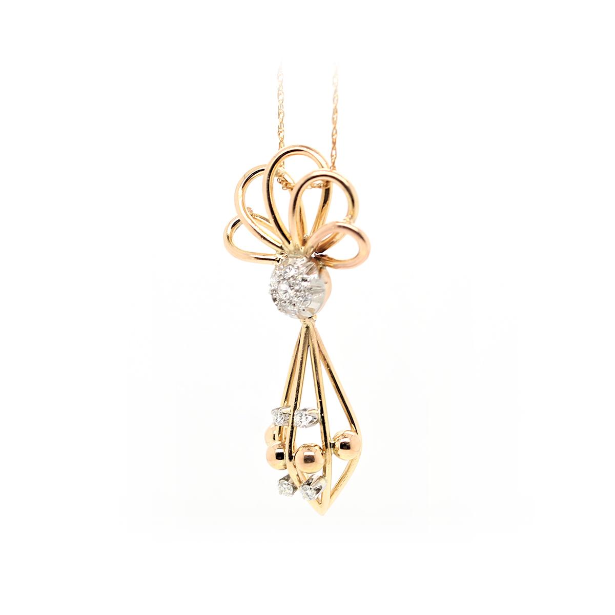 Vintage 18 Karat Yellow Gold Diamond Geometric Pendant Necklace