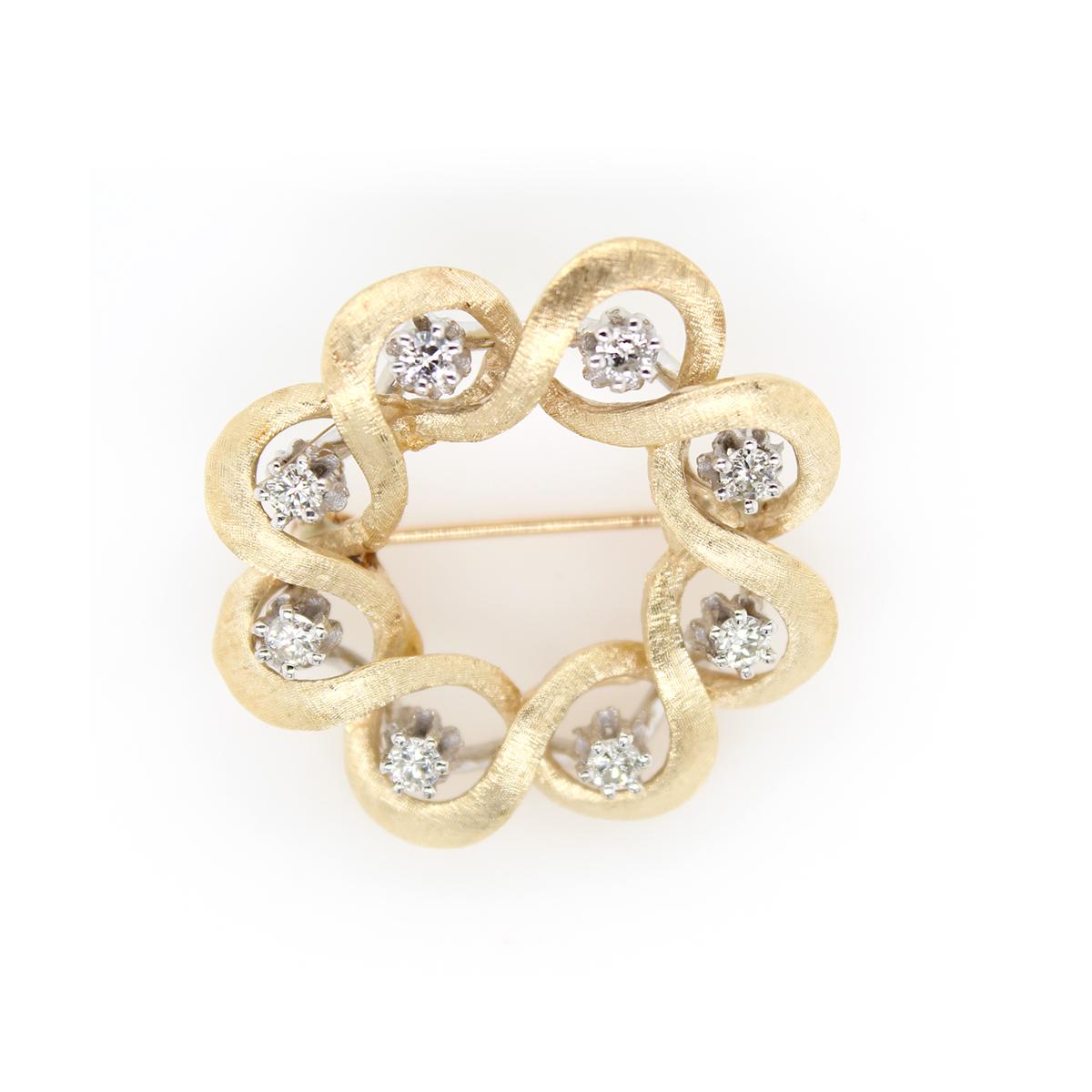 Vintage 14 Karat Yellow Gold Diamond Woven Brooch