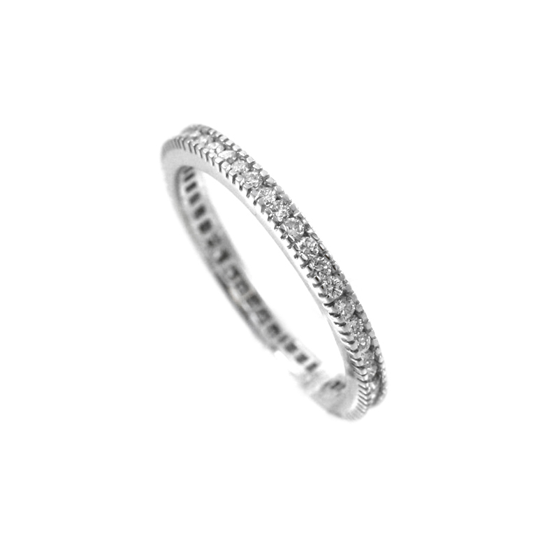 Vintage Hidalgo Narrow 18 Karat White Gold Diamond Band Has Diamonds All Around Its Iconic Design.