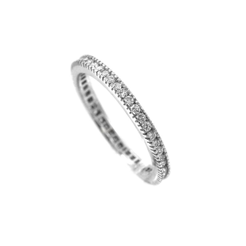 Vintage Hidalgo Narrow 18 Karat White Gold Diamond Band Has Diamonds All Around Its Iconic Design.