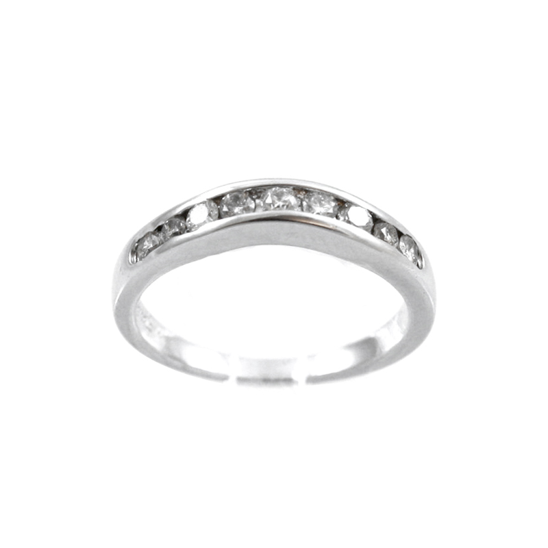 14 Karat White Gold And Diamond Curved Band.