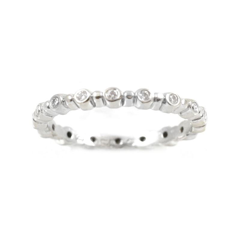 Estate 18 Karat white gold and diamond eternity band.