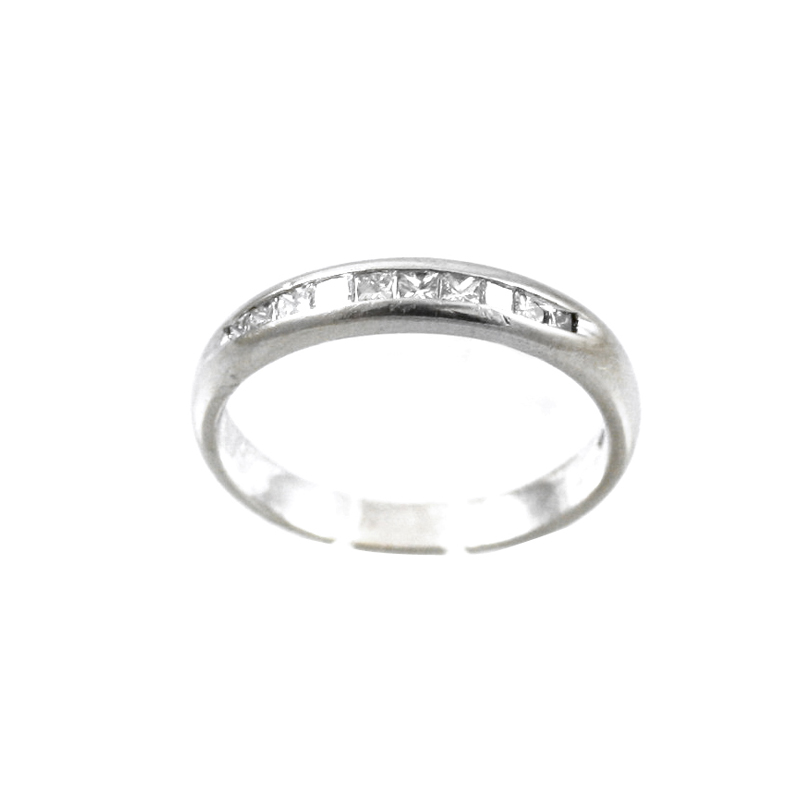 14 Karat White Gold Diamond Wedding Band.