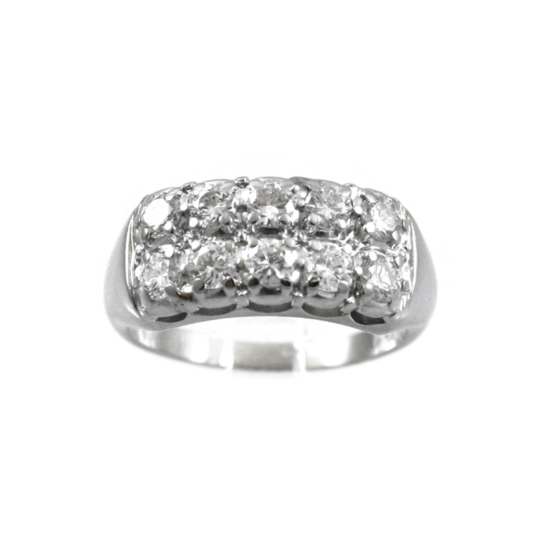 14 Karat White Gold Double Row Diamond Band.