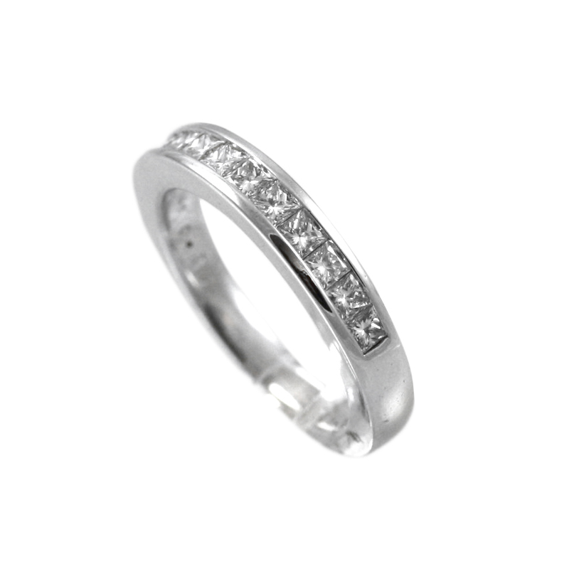 14 Karat White Gold Princess Cut Diamond Wedding Band.