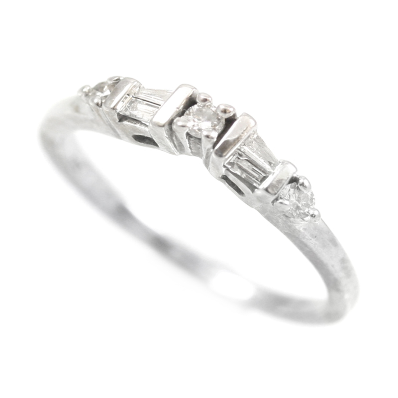 Estate 14 Karat white gold and diamond weding band.