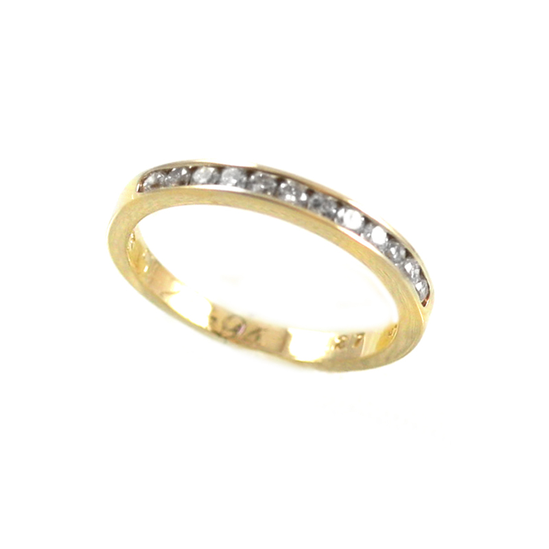 Estate 14 Karat yellow gold and diamond band.