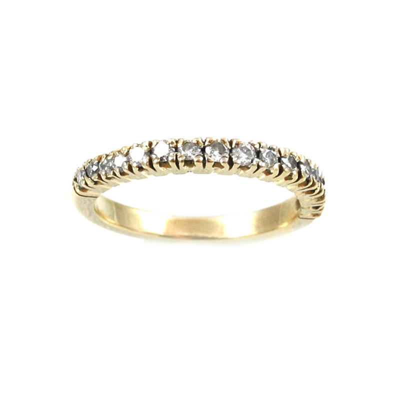 Estate 14 Karat yellow gold and diamond wedding band.