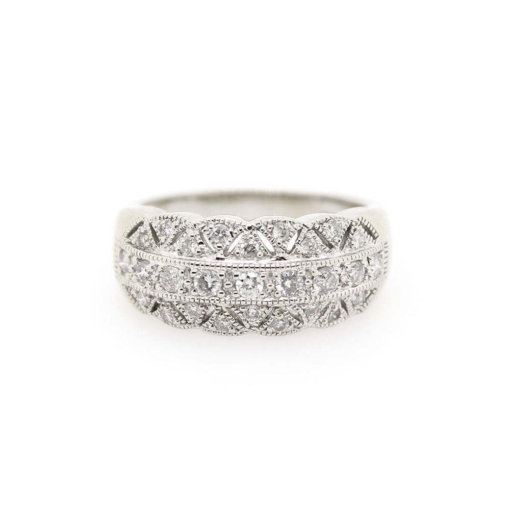Vintage 14 Karat White Gold Filigree Diamond Band