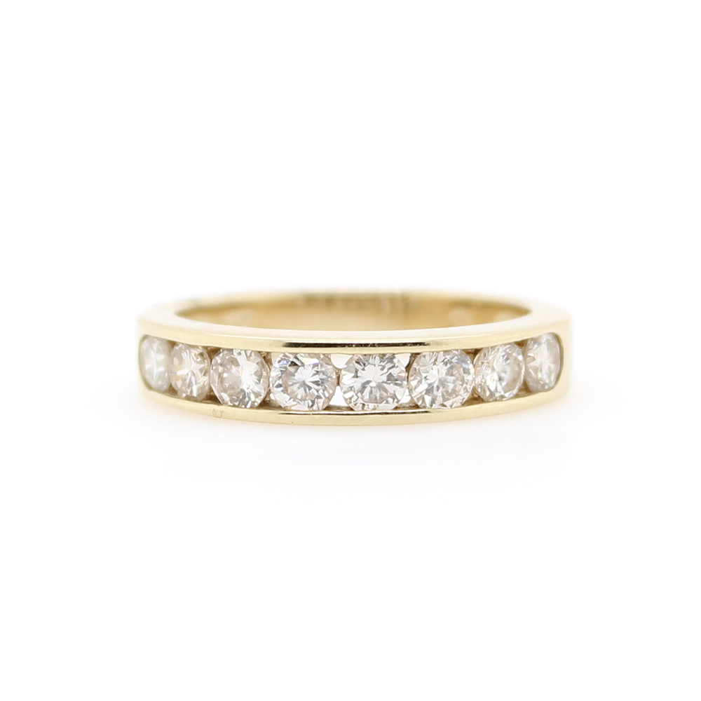 Estate 14 Karat Yellow Gold Diamond Band