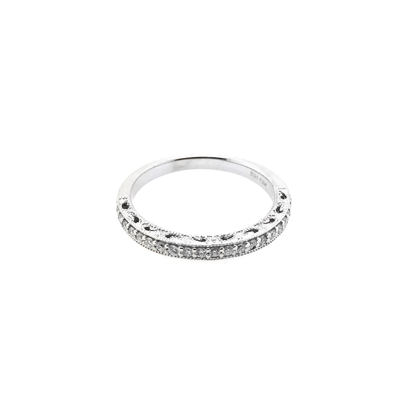 Estate 14 Karat White Gold Diamond Millgrain Band