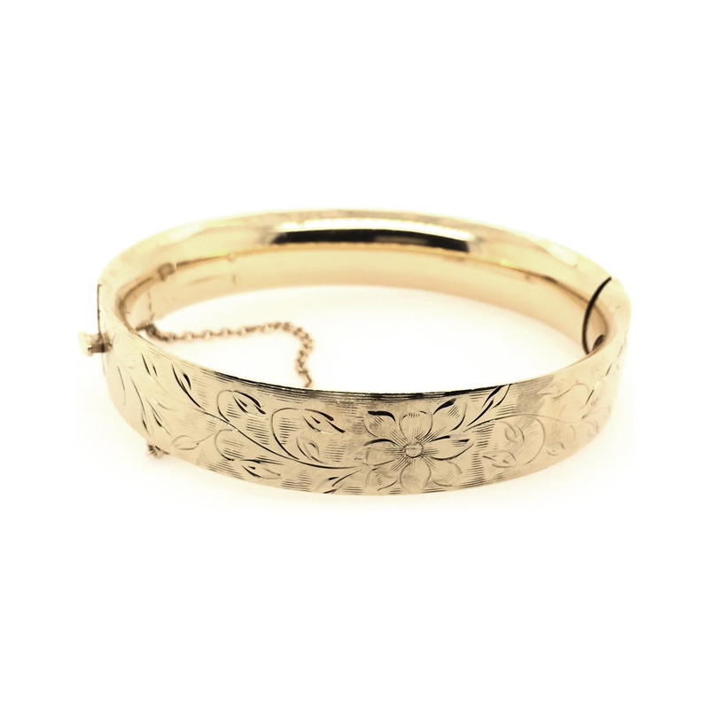 Estate 14 Karat Yellow Gold Engraved Hinged Bangle Bracelet