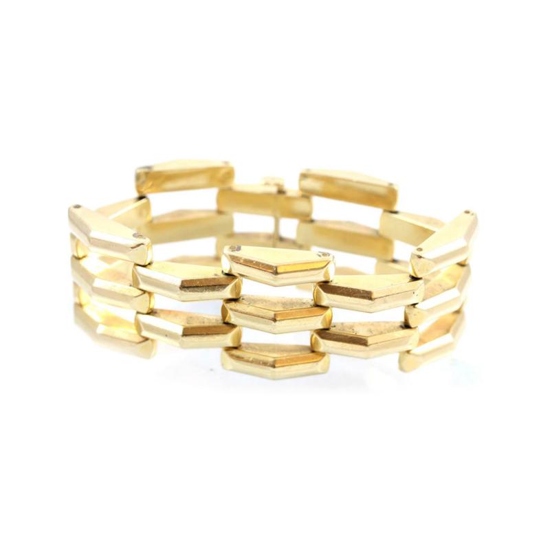 Estate 14 Karat Yellow Gold Pyramid Trible Bar Link Bracelet