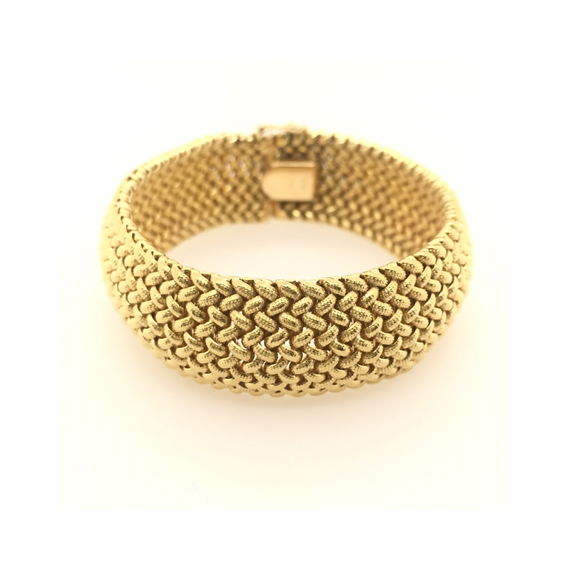 Estate 18 Karat yellow gold basket weave bracelet