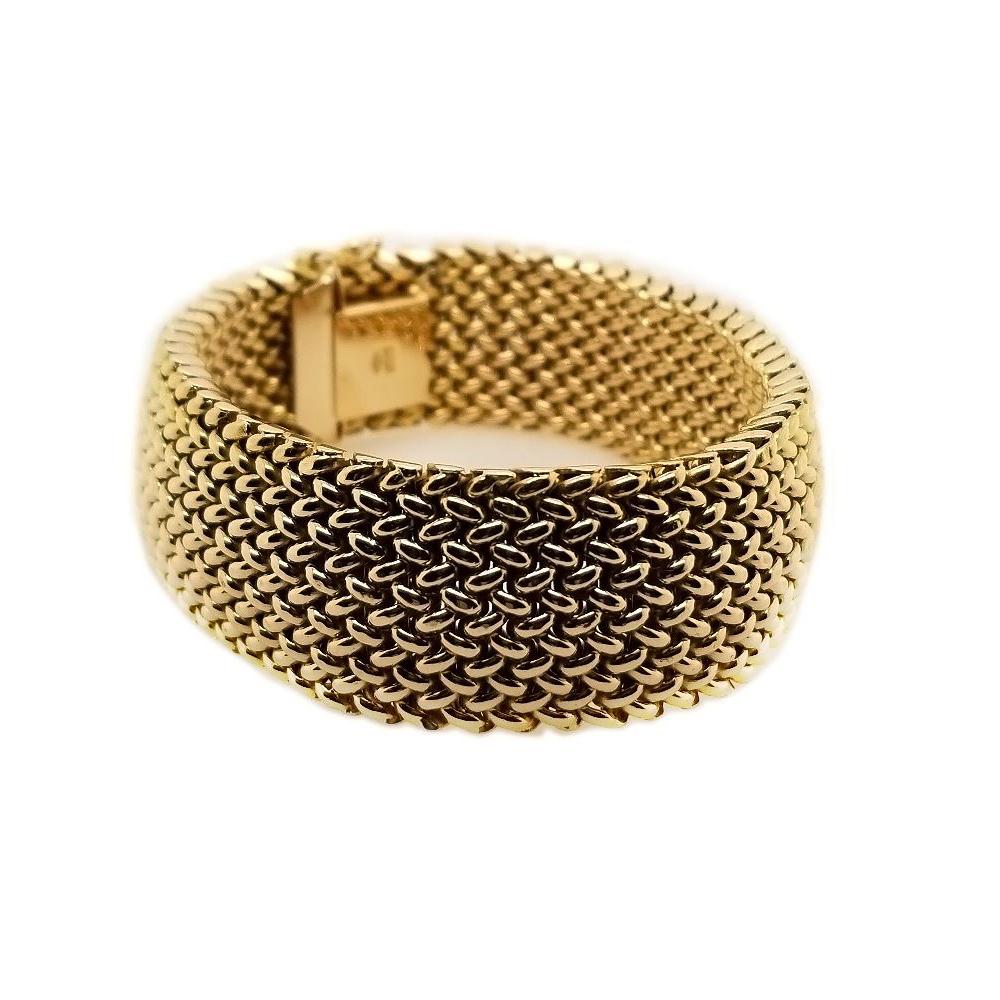 Vintage 14 Karat Yellow Gold Mesh Bracelet