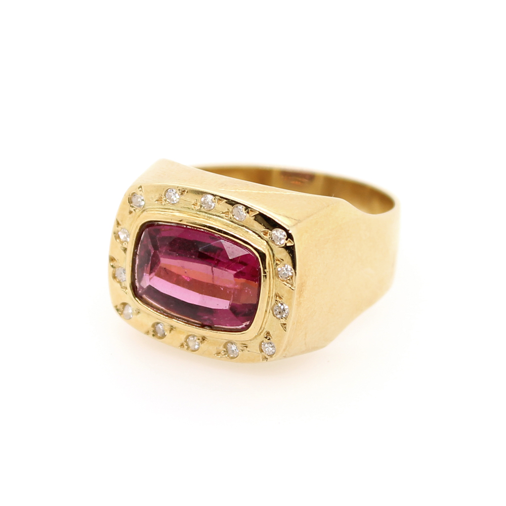 Vintage 14 Karat Yellow Gold Diamond and Rubelite Ring