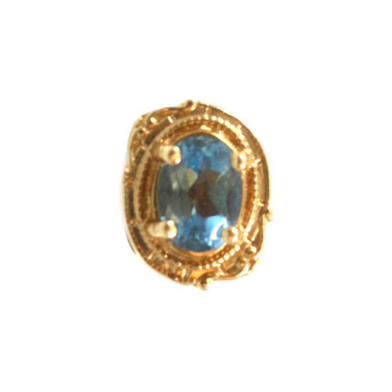 Estate Glatter 14 Karat yellow gold blue topaz oval slide.