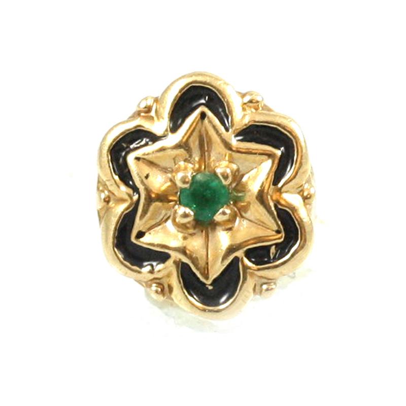 Estate A. Klein 14 Karat yellow gold, emerald and black enamel slide.