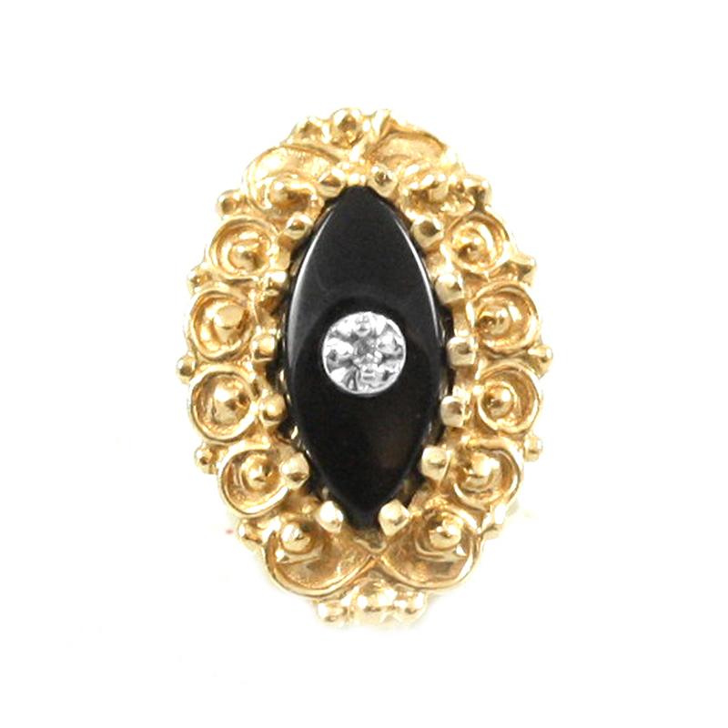 Estate A. Klein 14 Karat yellow gold, black onyx and diamond oval slide.