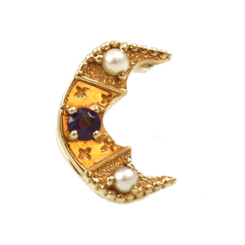 Estate Glatter 14 Karat Yellow gold amethyst and seed pearl, half moon shaped side.