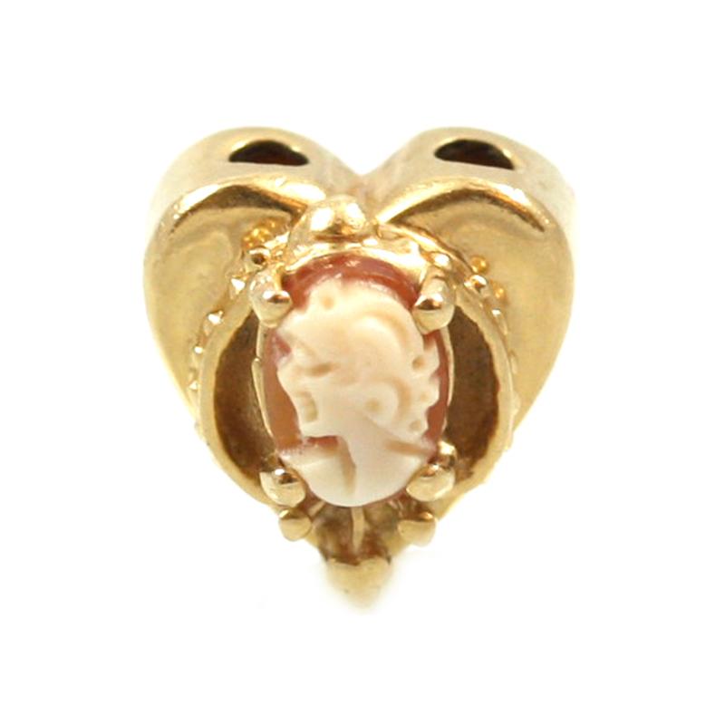 Estate 14 karat yellow gold Cameo heart shaped slide