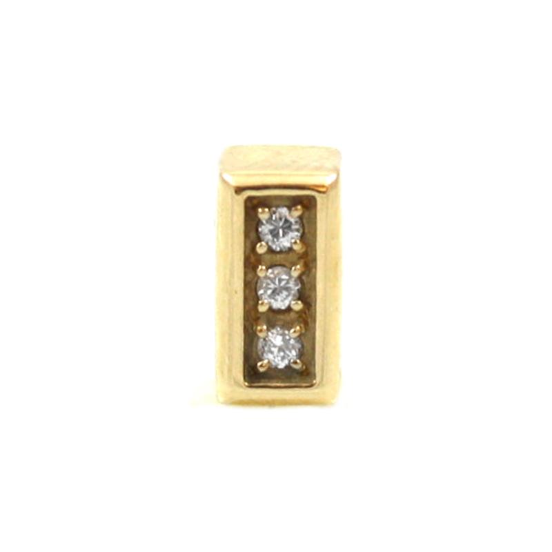 Estate 14K yellow Gold short diamond bar slide.