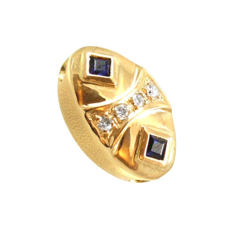 Estate 14 karat yellow gold Joshua Ble sapphire and diamond slide.