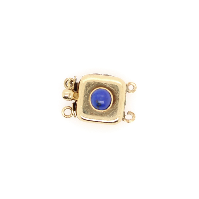 Estate 14 Karat Yellow Gold Square Lapis Slide Clasp