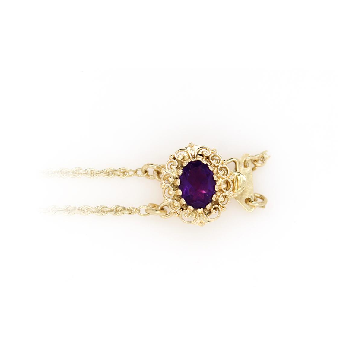 Vintage 14 Karat Yellow Gold Richard Glatter Stater Rope Bracelet with Amethyst Slide