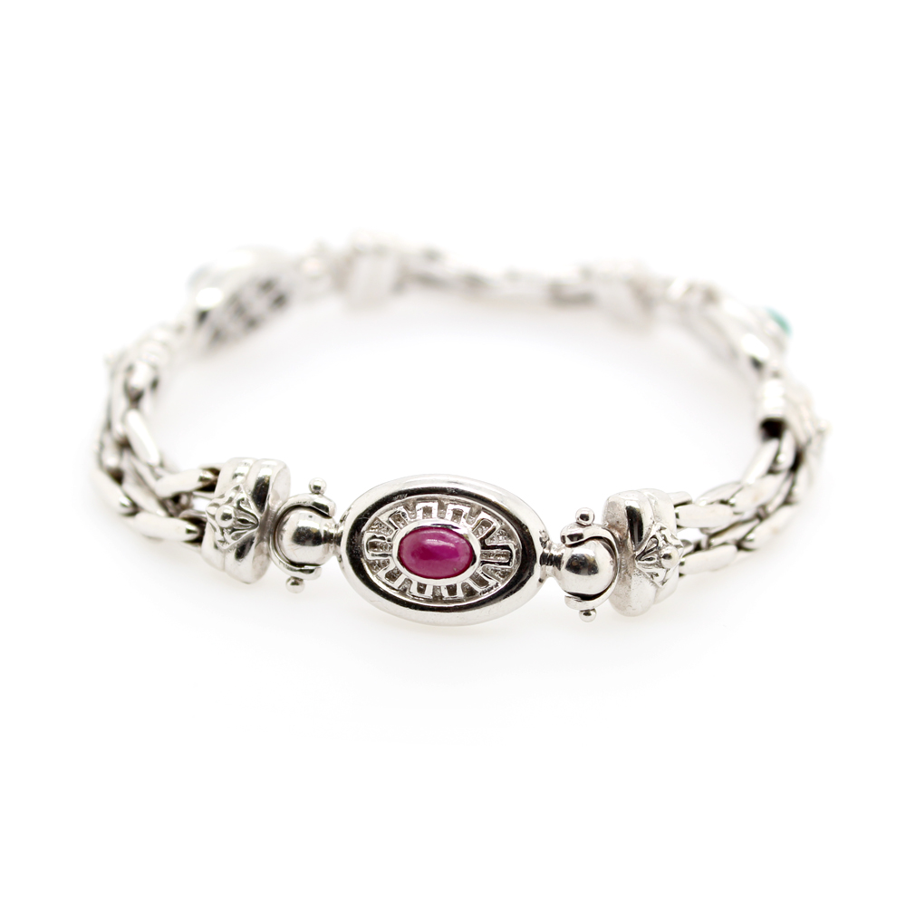 Estate 14 Karat White Gold Sapphire, Ruby, and Emerald Bracelet