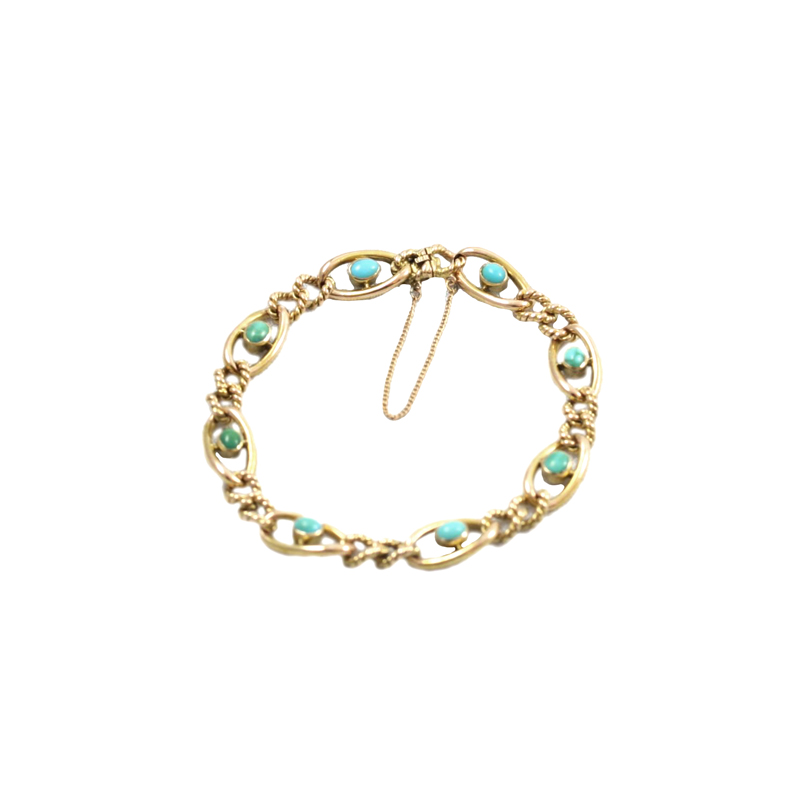 Estate 14 Karat Rose Gold Turquoise Station Link Bracelet