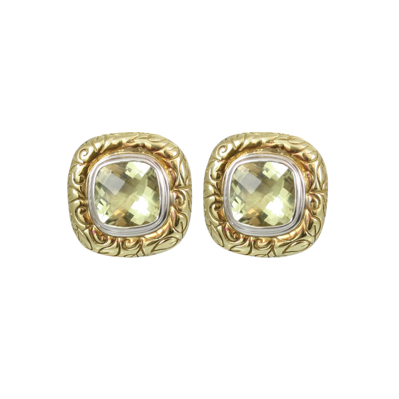 This Pair Of Gorgeous Seiden Gang 18 Karat Yellow Gold Laurel Engraved Earrings Are Very Versitile For Any Occassion.