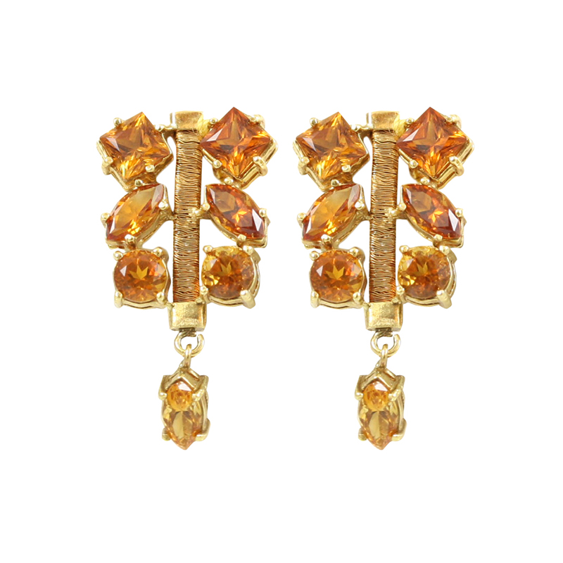 Gorgeous Brazilian Boutique 18 Karat Yellow Gold And Citrine Earrings.