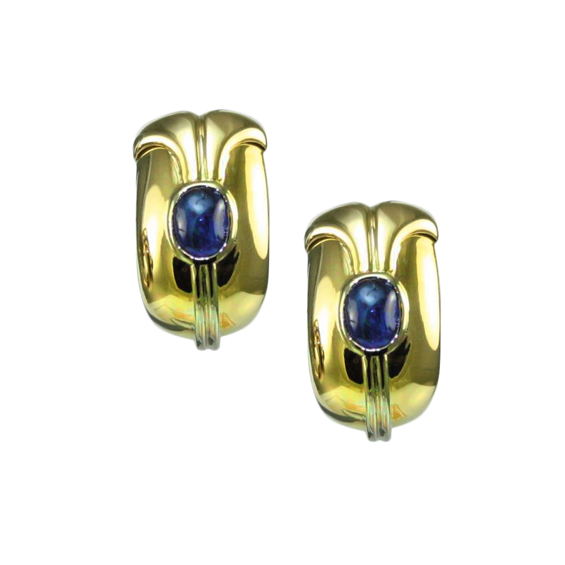 Estate Bvlgari 18 Karat yellow gold and sapphire earrings.