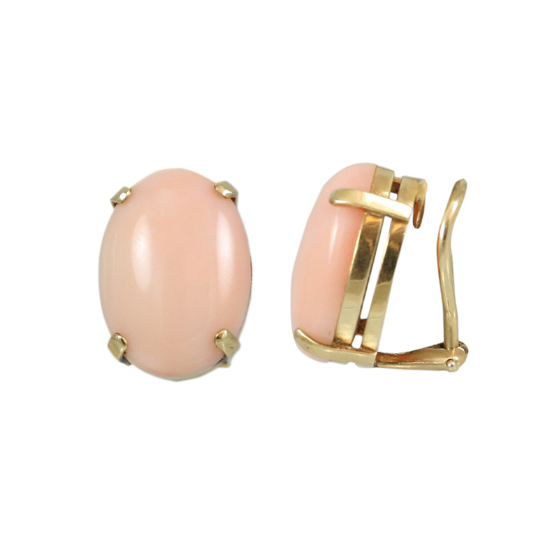 Subtly Dramatic 14 Karat Yellow Gold Coral Earrings.