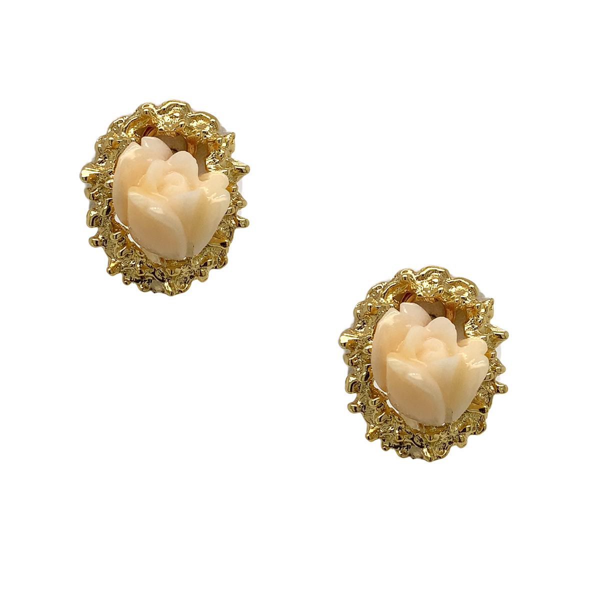 Vintage 14 Karat Yellow Gold Rose Carved Jade Earrings