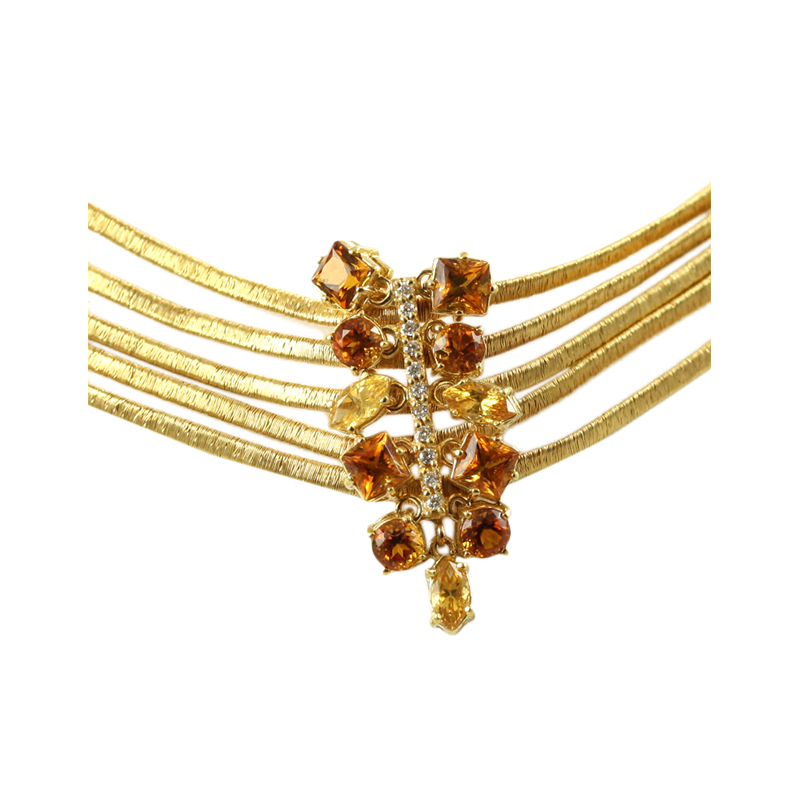 Gorgeous 18 Karat Yellow Gold Diamond And Citrine Necklace.
