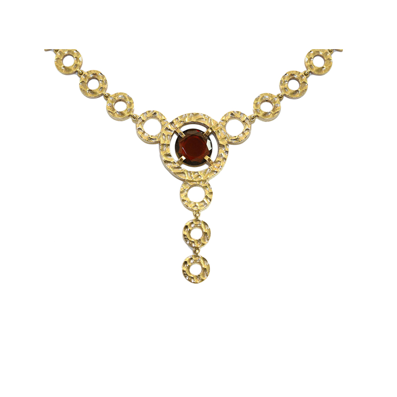 "Vintage 18 Karat yellow gold and citrine ""Boucheron Paris"" circle link lariat style necklace measuring 16"" long with a hidden clasp."