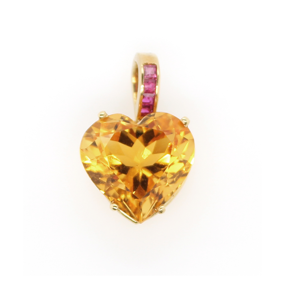 Vintage 18 Karat Yellow Gold Citrine Heart Pendant with Ruby Bail
