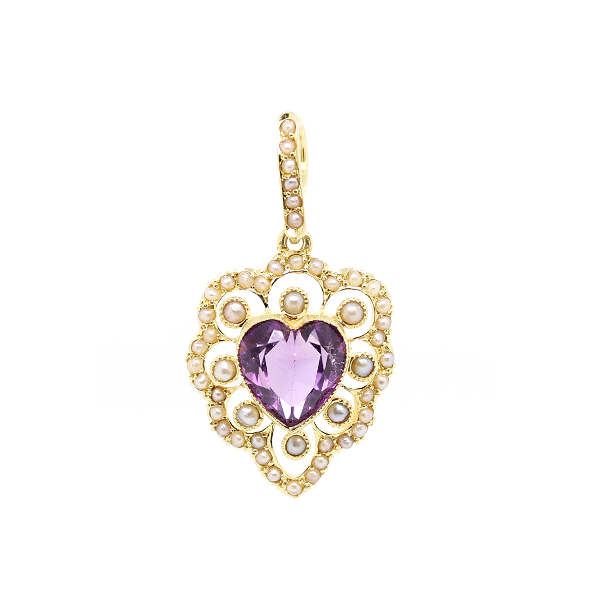 Vintage 14 Karat Yellow Gold Heart Shaped Amethyst and Pearl Pendant